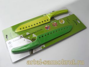 "НОЖ NONSTICK COATED KNIFE-7.5""SANTOKU-GREEN ЛЕЗВИЕ 190ММ"